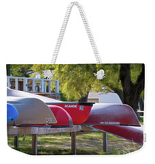 Weekender Tote Bag featuring the photograph I Believe I'll Go Canoeing by Cindy Lark Hartman