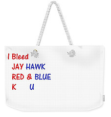 Weekender Tote Bag featuring the photograph i bleed JAYHawk by Aaron Martens