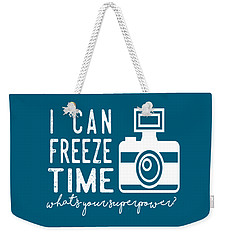 Weekender Tote Bag featuring the photograph I Can Freeze Time by Heather Applegate