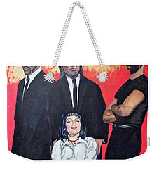 Weekender Tote Bag featuring the painting I Don't Smile For Pictures by Tom Roderick