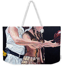 Weekender Tote Bag featuring the painting I Just Dropped In by Tom Roderick