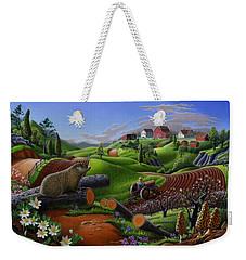 I Love Farm Life T Shirt - Spring Groundhog - Country Farm Landscape 2 Weekender Tote Bag