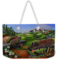 I Love Appalachia T Shirt - Spring Groundhog - Country Farm Landscape Weekender Tote Bag