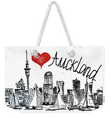 Weekender Tote Bag featuring the drawing I Love Auckland  by Sladjana Lazarevic