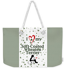 Weekender Tote Bag featuring the digital art I Love My Wheaten Terrier by Rebecca Cozart
