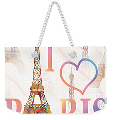 I Love Paris Mixed Media Weekender Tote Bag by Georgeta Blanaru