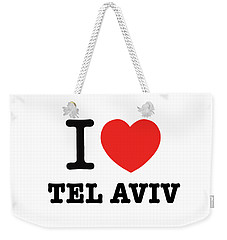 Weekender Tote Bag featuring the photograph i love Tel Aviv by Ron Shoshani
