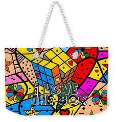 Weekender Tote Bag featuring the digital art i love the 80s Popart by Nico Bielow by Nico Bielow