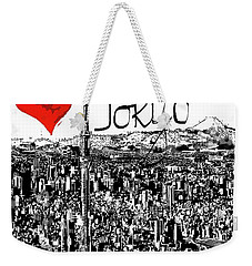 Weekender Tote Bag featuring the digital art I Love Tokyo by Sladjana Lazarevic
