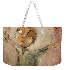 Weekender Tote Bag featuring the painting I Love You This Much by Eleatta Diver
