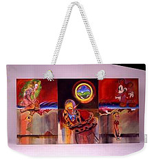 Weekender Tote Bag featuring the painting I Saw The Figure Five In Gold by Charles Stuart