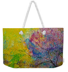 Weekender Tote Bag featuring the painting I See Birds by Claire Bull
