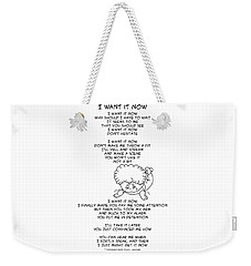 Weekender Tote Bag featuring the drawing I Want It Now by John Haldane