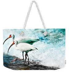 Weekender Tote Bag featuring the painting Ibis Splash by Barbara Chichester