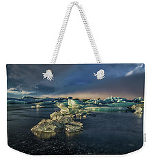 Weekender Tote Bag featuring the photograph Ice Chunks by Allen Biedrzycki