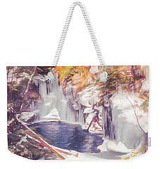 Ice Cold View Of Sages Ravine. Northwest Connecticut Weekender Tote Bag