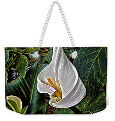 Weekender Tote Bag featuring the digital art Ice Cream Calla Lily by Pennie  McCracken