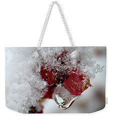 Weekender Tote Bag featuring the photograph Ice Drip by Melinda Blackman