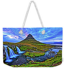 Weekender Tote Bag featuring the photograph Ice Falls by Scott Mahon
