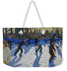 Ice Skaters At Christmas Fayre In Hyde Park  London Weekender Tote Bag by Andrew Macara