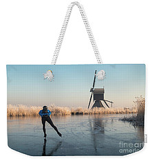 Ice Skating Past Frosted Reeds And A Windmill Weekender Tote Bag