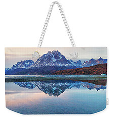 Icebergs And Mountains Of Torres Del Paine National Park Weekender Tote Bag by Phyllis Peterson