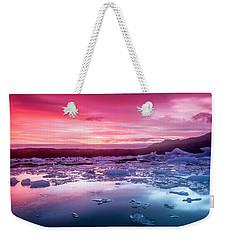 Icebergs In Jokulsarlon Glacial Lagoon Weekender Tote Bag