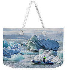 Icebergs On Jokulsarlon Lagoon In Iceland Weekender Tote Bag