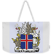 Weekender Tote Bag featuring the drawing Iceland Coat Of Arms by Movie Poster Prints