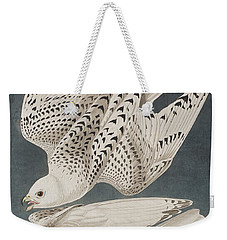 Iceland Falcon Or Jer Falcon Weekender Tote Bag by John James Audubon