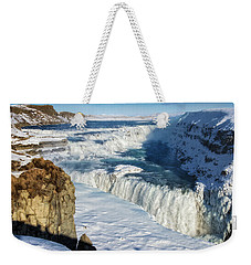 Weekender Tote Bag featuring the photograph Iceland Gullfoss Waterfall In Winter With Snow by Matthias Hauser