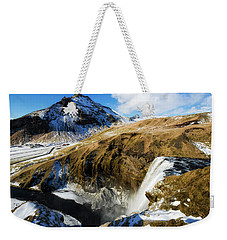 Weekender Tote Bag featuring the photograph Iceland Landscape With Skogafoss Waterfall by Matthias Hauser