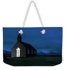 Weekender Tote Bag featuring the photograph Icelandic Church At Night by Dubi Roman