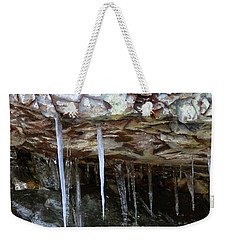 Weekender Tote Bag featuring the photograph Icicle Art by Doris Potter