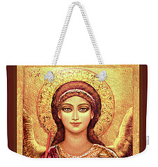 Icon Archangel Gabriel In Magenta Weekender Tote Bag