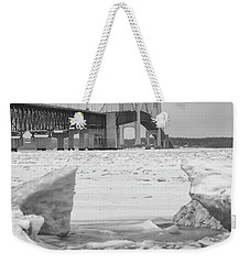 Weekender Tote Bag featuring the photograph Icy Black And White Mackinac Bridge  by John McGraw