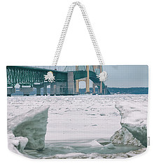 Weekender Tote Bag featuring the photograph Icy Day Mackinac Bridge  by John McGraw