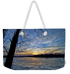 Weekender Tote Bag featuring the photograph Icy River by Cricket Hackmann