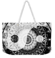 Weekender Tote Bag featuring the painting Ideal Balance Black And White Yin And Yang By Sharon Cummings by Sharon Cummings