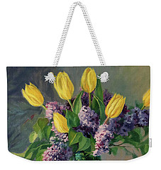Ideal - Yellow Tulips And Lilacs In A Blue Mason Jar Weekender Tote Bag by Bonnie Mason