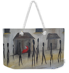 Weekender Tote Bag featuring the painting Ignoring The Homeless by Judith Rhue