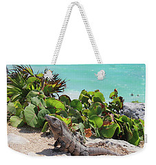 Weekender Tote Bag featuring the photograph Iguana At Tulum by Roupen  Baker