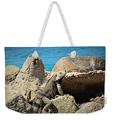 Weekender Tote Bag featuring the pyrography Iguana  by Gary Smith