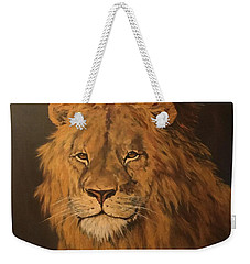 Weekender Tote Bag featuring the painting Lion by Jean Walker