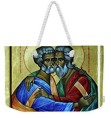 Weekender Tote Bag featuring the photograph Ikon Sts. Peter And Andrew by John Schneider