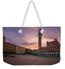 Weekender Tote Bag featuring the photograph Il Campo Dawn Siena Italy by Joan Carroll