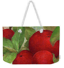 Weekender Tote Bag featuring the painting Illustrated Apples by Judith Cheng