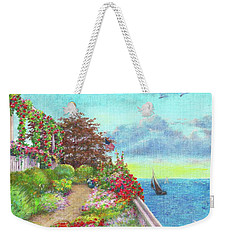 Weekender Tote Bag featuring the painting Illustrated Beach Cottage Water's Edge by Judith Cheng