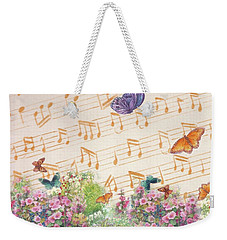 Illustrated Butterfly Garden With Musical Notes Weekender Tote Bag