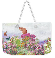 Weekender Tote Bag featuring the painting Illustrated Cat In Garden by Judith Cheng